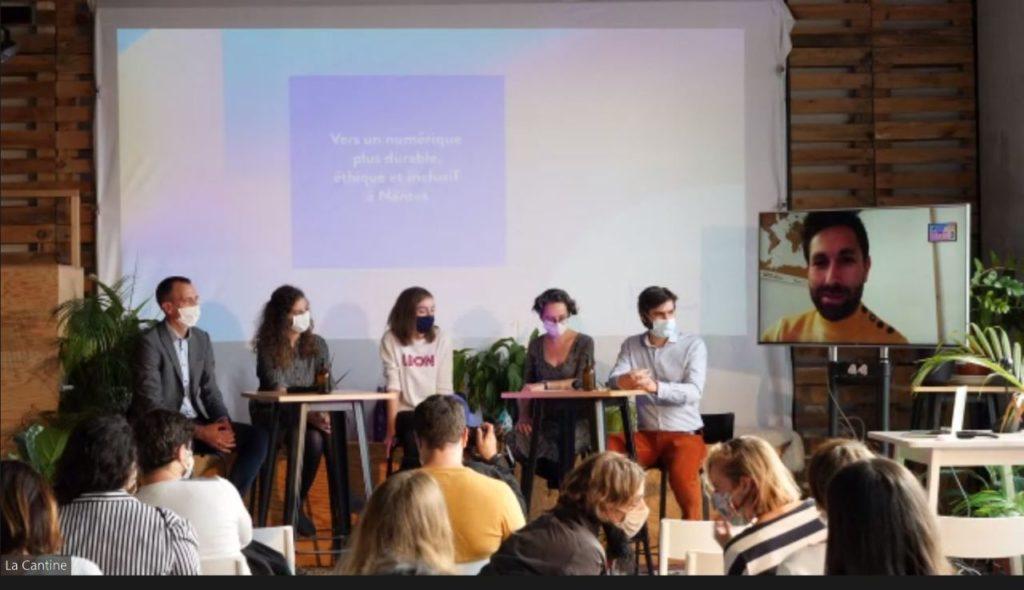 photo du lancement du NNR en septembre 2020, table ronde avec l'INR et les membres fondateurs de Nantes Numérique Responsable